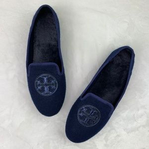 Tory Burch Navy Blue Felt/Fur Billy Loafers 10M